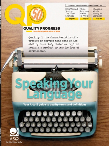 Cover of Quality Progress, August 2018 issue