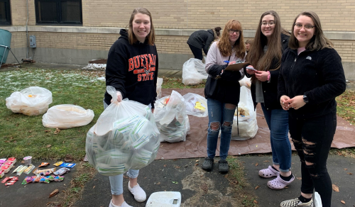 Lockport High School student conduct a cafeteria waste assessment (Photo by Elizabeth Cute)