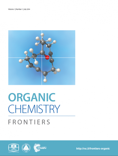 Organic Chemistry Frontiers cover, ball and stick molecule