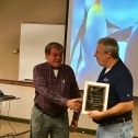 Bernie (left) receives a plaque from Jim Spichiger (right) 3760