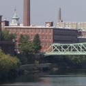Lowell, MA, Skyline from Hunt's Falls Bridge 7236